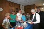 Friends from the Eastern Star serving dessert on Strawberry Night